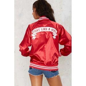 Feminism feminist woman girl power bomber jacket